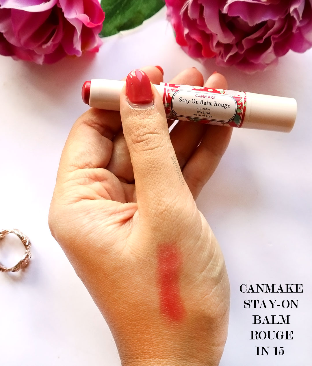 Canmake Stay On Balm Rouge in 15 review and swatches