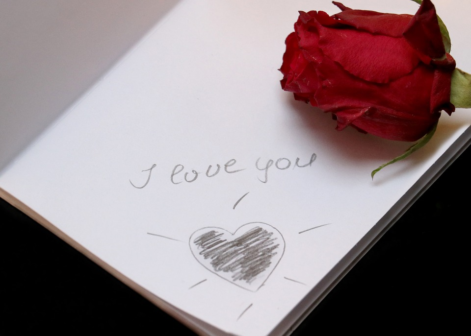 i-love-you note and rose  for Valentine's Day