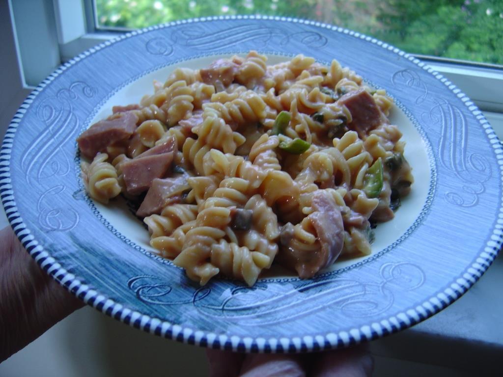 Canned Ham-Tomato Mushroom Casserole