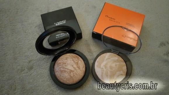 Comparação Mineralize Skinfinish Soft & Gentle da MAC x Iluminador Marmorizado Natura Aquarela
