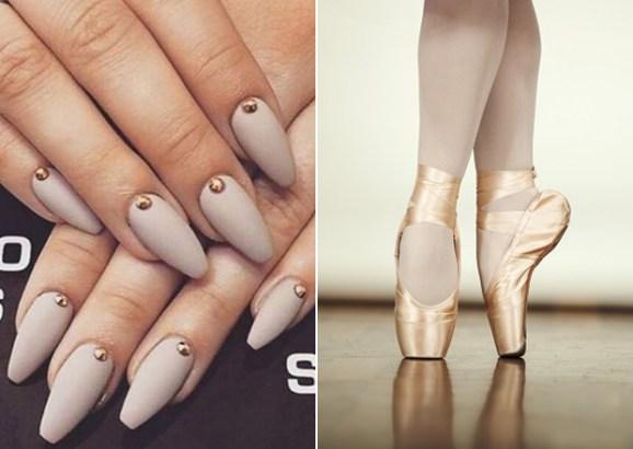 unhas em formato de sapatilha de bailarina- BeautyCris