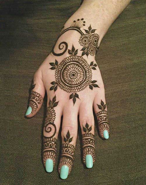 30 beautiful back hand mehndi designs that you can do by yourself round shape back hand mehndi design solutioingenieria Image collections