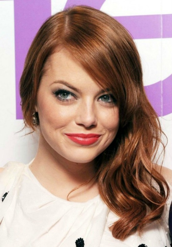 Emma Stone Long Side Part Hairstyle