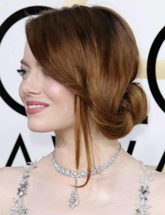Emma Stone Side Bun Hairstyle