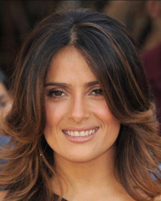 Salma Hayek Medium Length Haircuts for Thick Hair