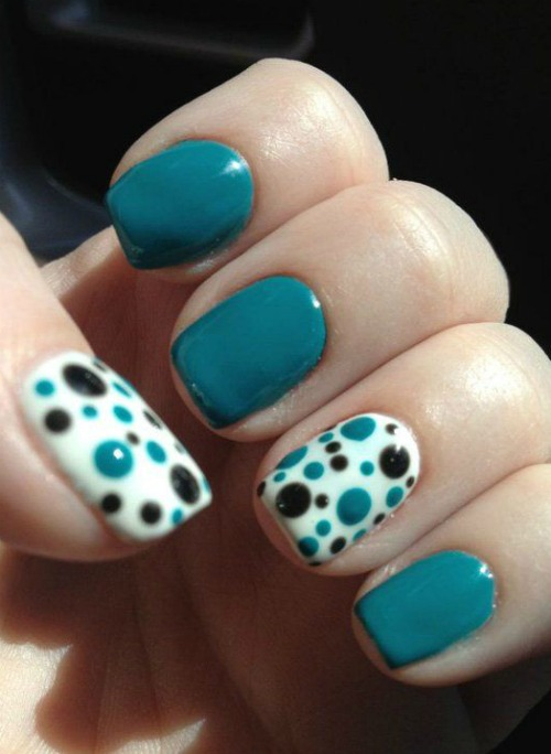 blue nails with Polka Dots