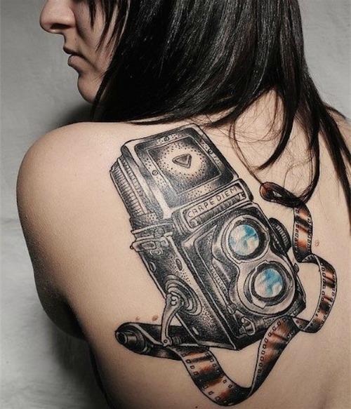 Camera Tattoo on Back Shoulder
