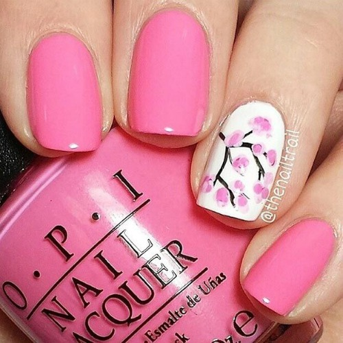 Pink Spring Nail Design with Cherry Blossom