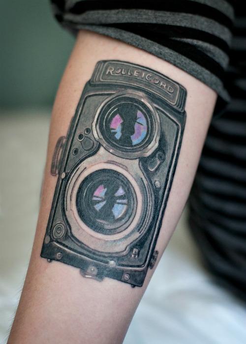 Big Camera Tattoo On Hand