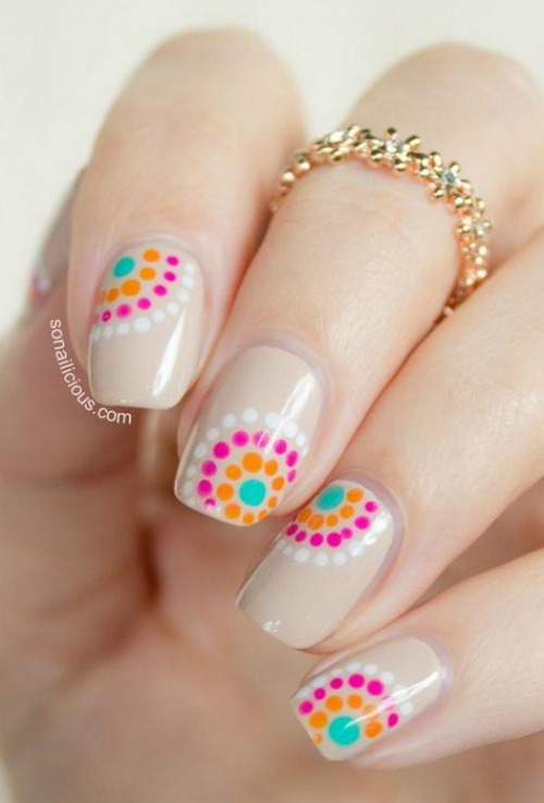 Pink and Orange Polka Dot Nail Art