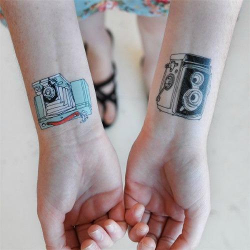 Couple Camera Tattoo on Wrist
