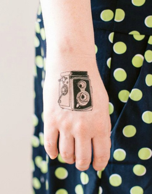 Camera Tattoo on Back Hand