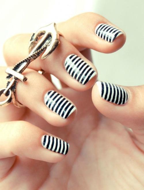 Black And White Tribal Nail Art Design