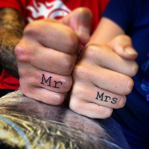 Mr and Mrs couple tattoo