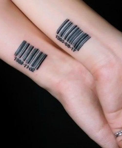 barcode couple tattoo