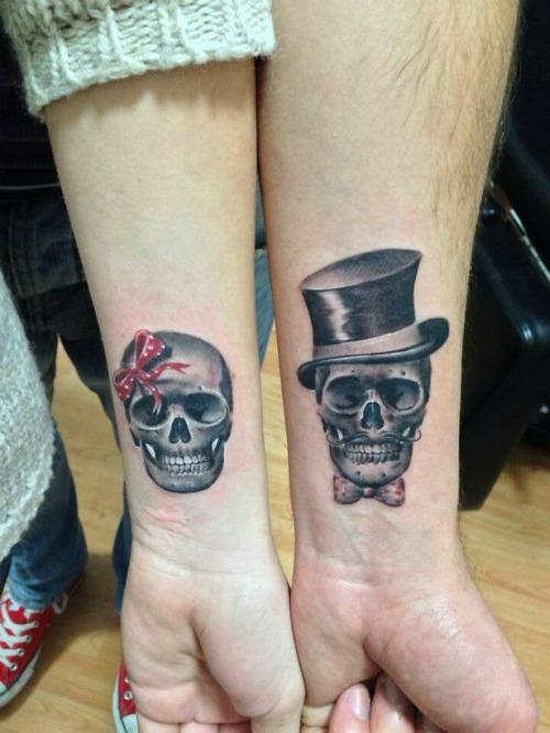 skull couple tattoo