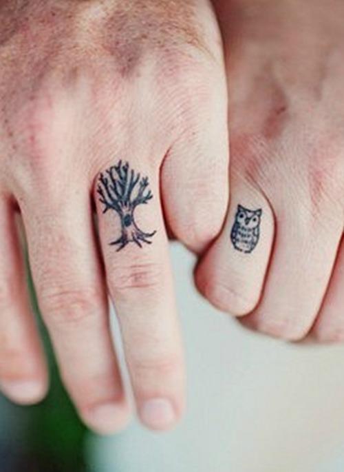 owl and tree couple tattoo