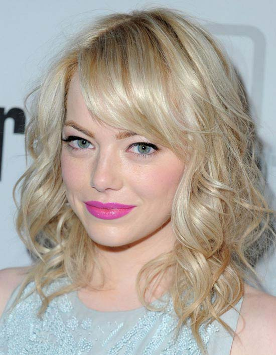 Emma-Stone Curly Hair with Bangs
