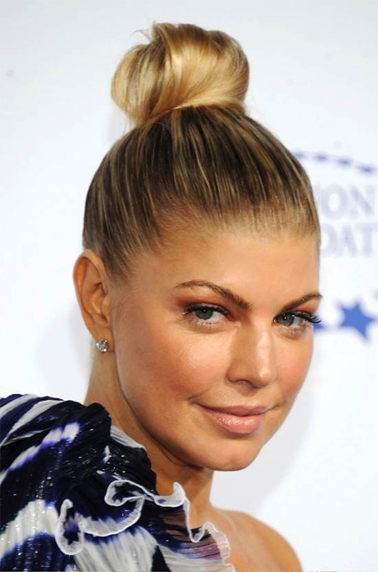 Fergie Top Knot Updo Hairstyle