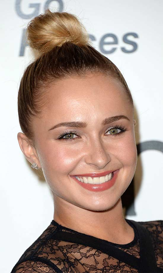Hayden Panettiere top knot hair style