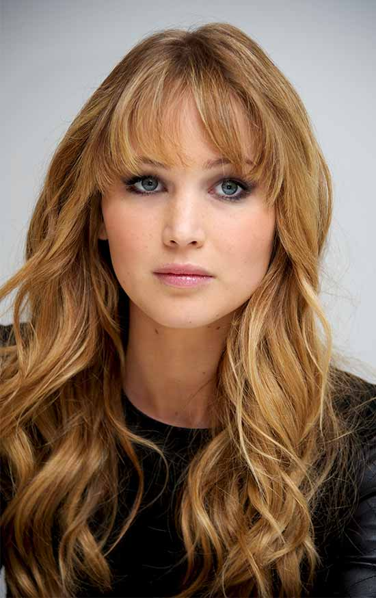 Jennifer-Lawrence Curly Hair with Bangs