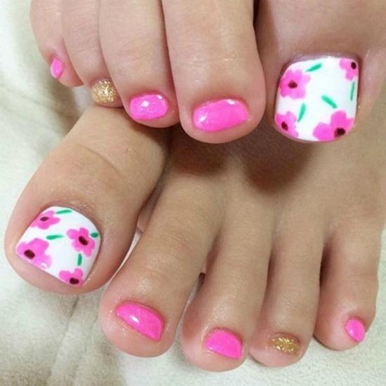 Pink Flower Toe Nail Art Design
