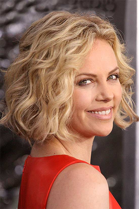 charlize thero Short Wavy Pixie Haircut Round face