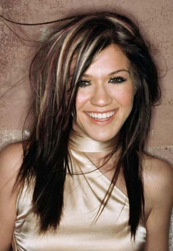 Kelly Clarkson Long Layered Hairstyles