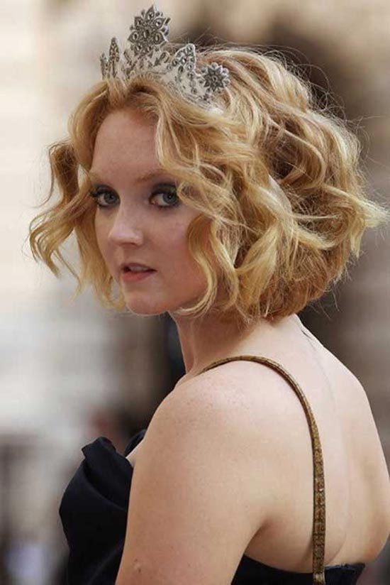 Lily Cole Curly Blonde Colored Short Hair