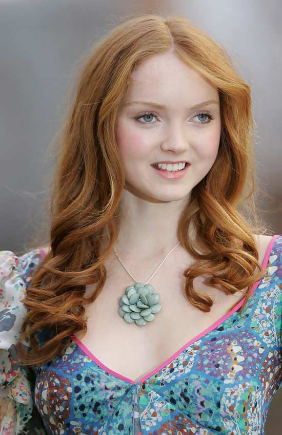 Lily Cole long length Curly hair with bangs