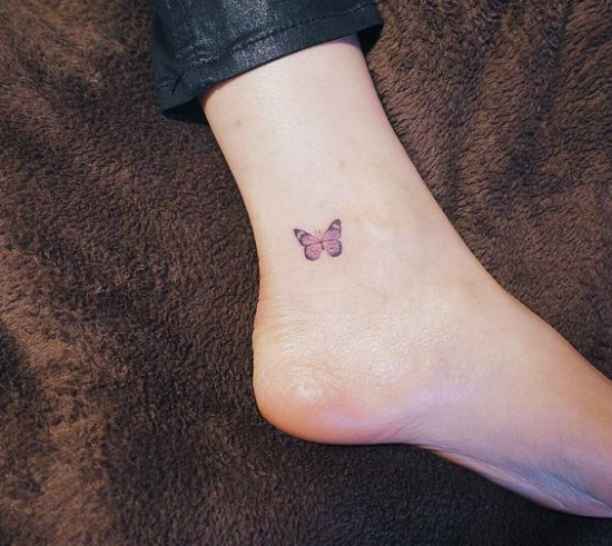 Small Butterfly Tattoo on Inner Ankle