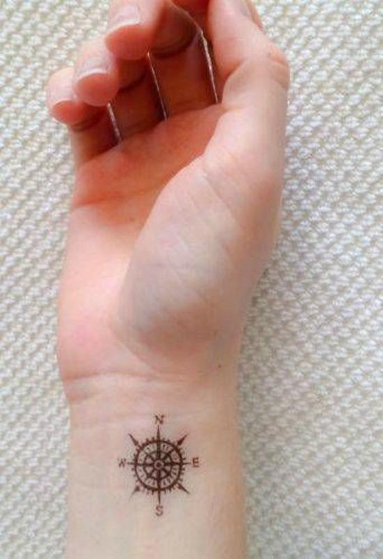 Small Compass Wrist Tattoo