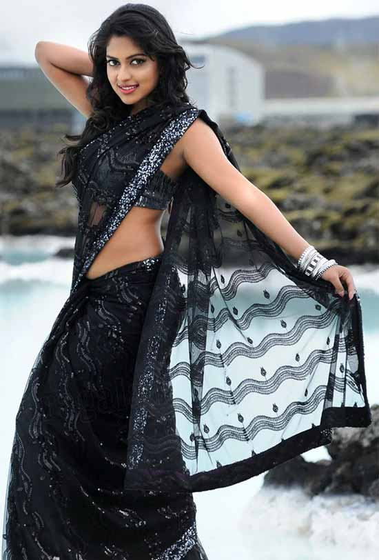 Amala Paul In Black Net Saree
