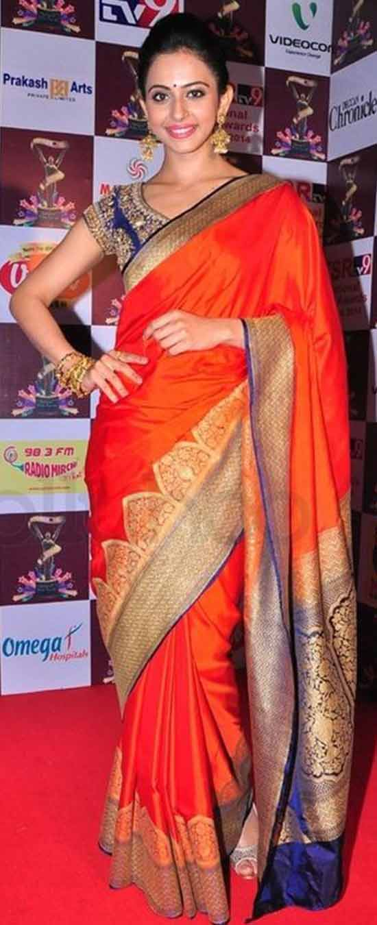 Rakul Preet Singh Orange Kanjivaram Saree