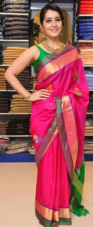 Rashi-Khanna-In-Red-Pattu-Silk-Saree-With-Gold-Zari-Boarder