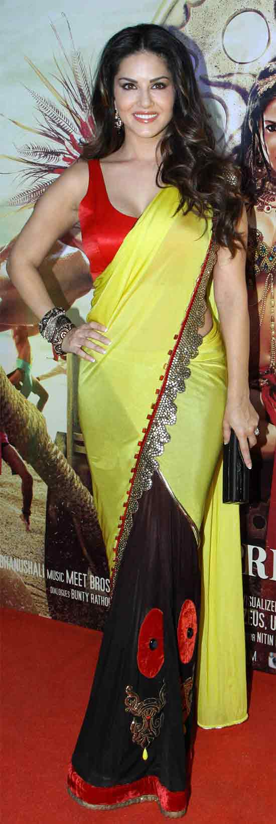 Sunny-Leone-In-Yellow-Saree-And-Sleeveless-Blouse