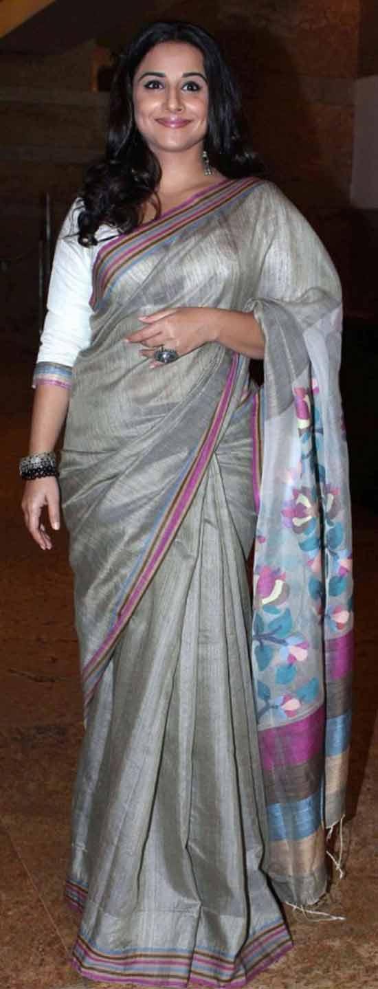 Vidhya-Balan-Grey-Cotton-Saree