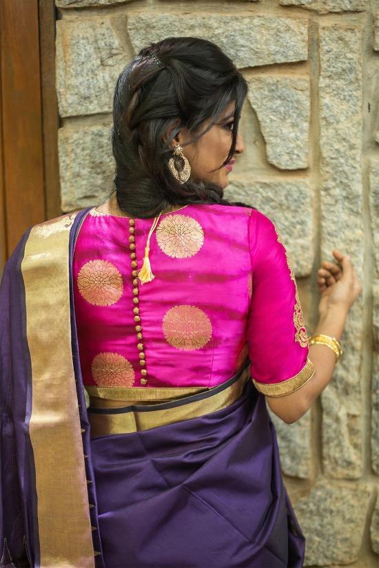 Pinkish Purple Gold Shibori Brocade Blouse With Back Buttons