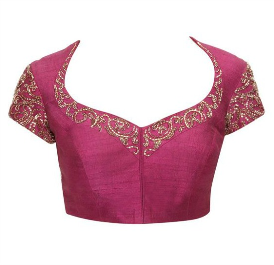 Prince Cut Plum Embroidered Blouse