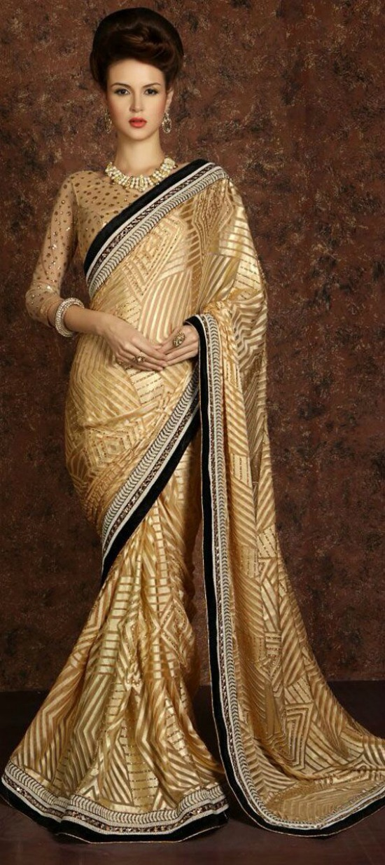 Gold Saree Black Border Paired With Full Sleeve Blouse
