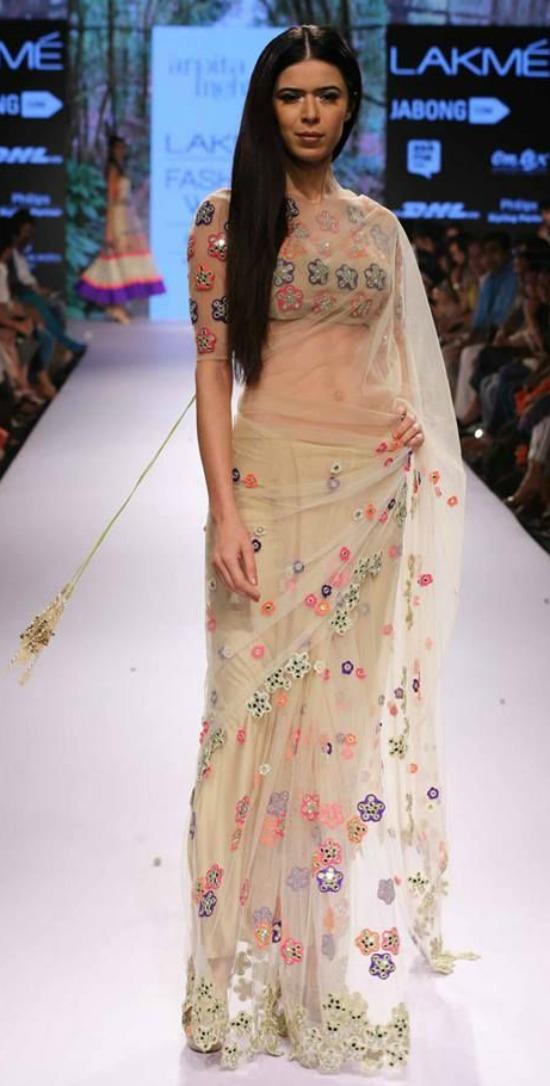 Arpita Mehta Multi-Coloured Embroidered Beige Saree At Lakme Fashion Week