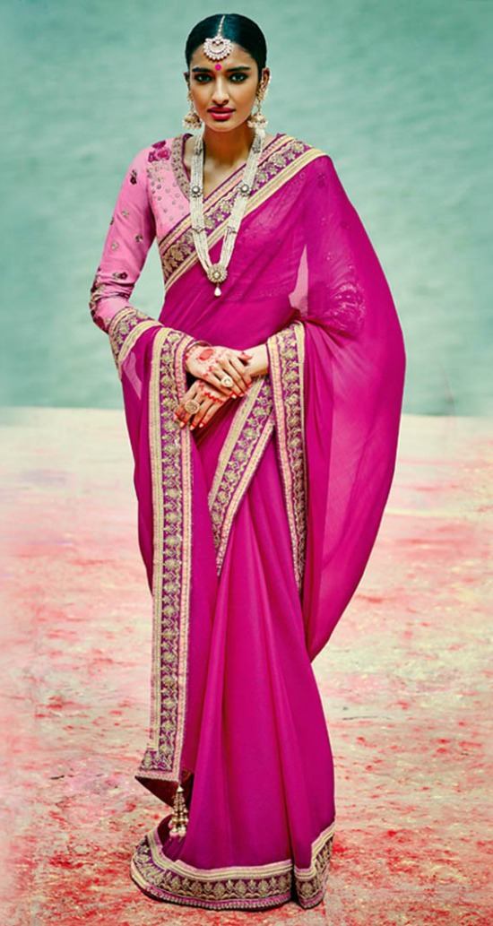 Magenta Embroidered Party Wear Saree Blouse