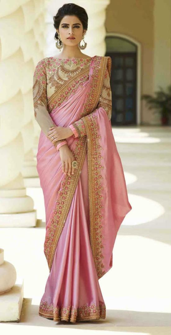 Pink Colour Silk Saree With Heavy Work Designer Blouse
