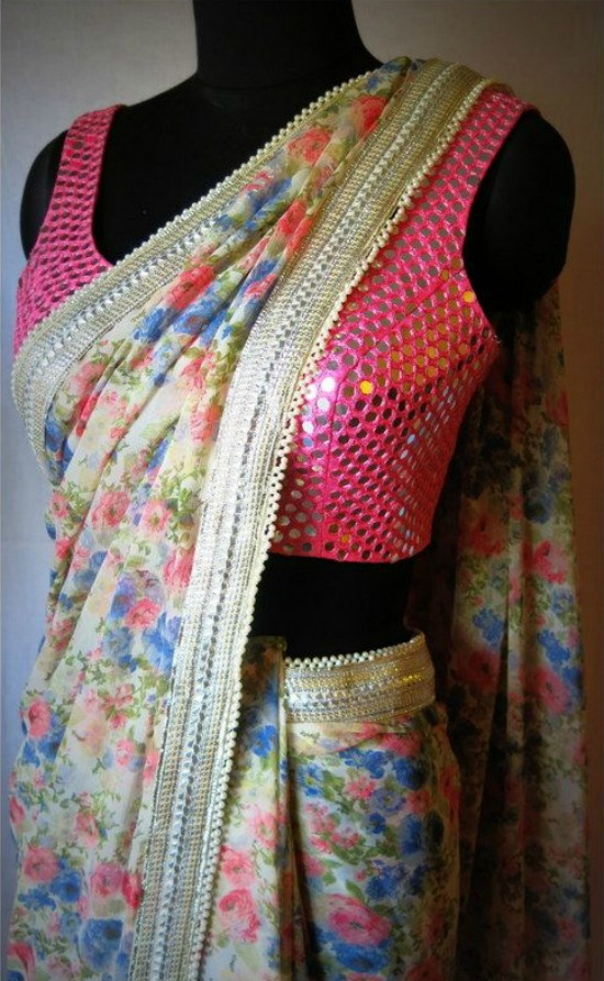 Floral Pink Silk Saree With Pink Small Mirror Blouse