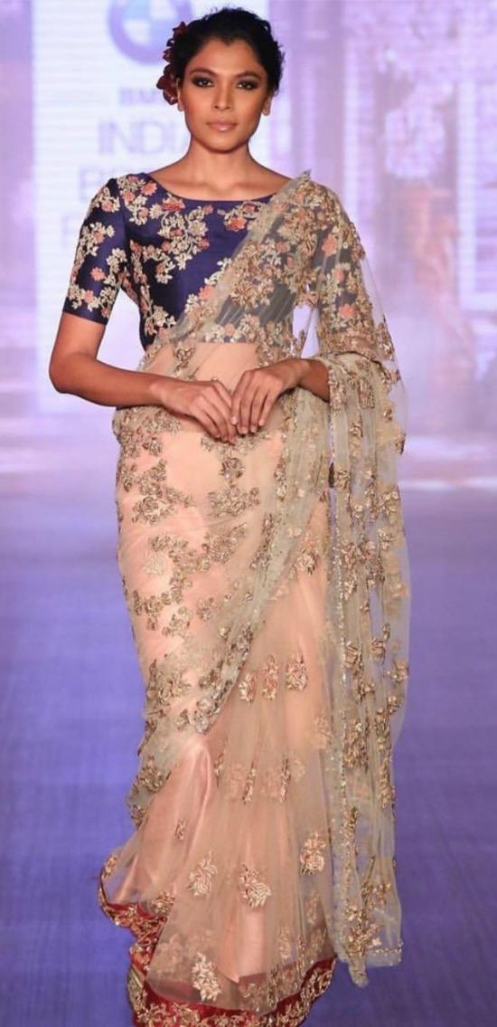 Designer Peach Pink Net Saree
