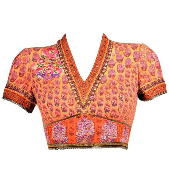 Orange And Yellow Shaded V Shape Blouse With Back Keyhole