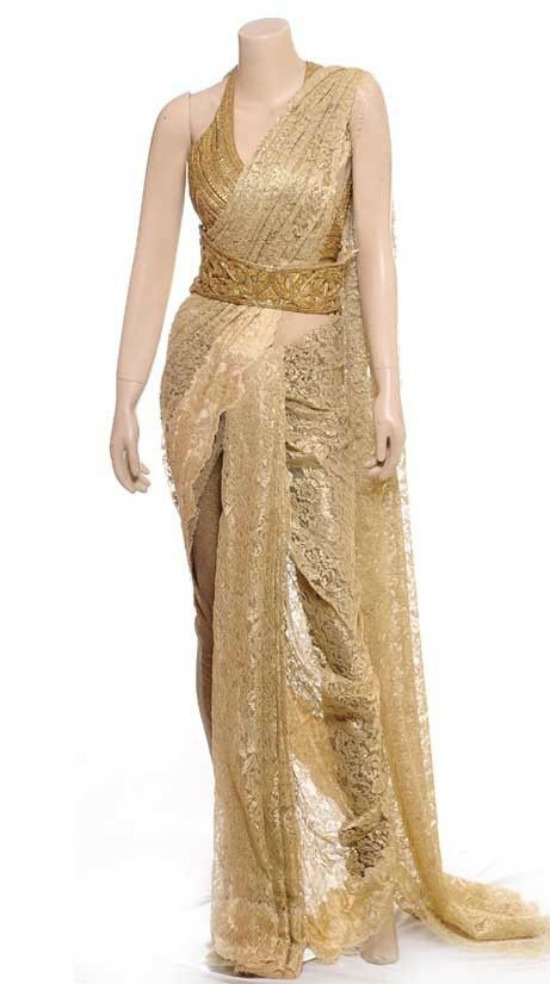 Gold Lace Saree With Halter Neck Blouse