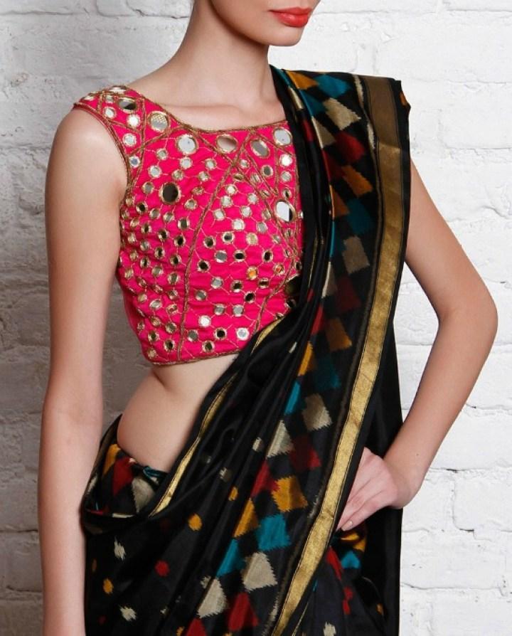 Sleeveless Mirror Work Blouse With Black Saree