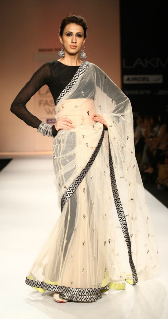 Transparent Cream Color Embroidery Motifs Saree With Full Sleeve Blouse