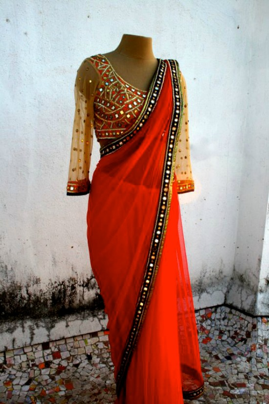 Red Saree With Full Net Sleeve Mirror Work Blouse